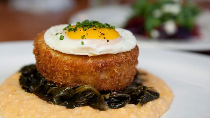 Fried Chicken. Bacon mousse chicken roulade, cheesy grits, collard greens, sunny-up egg.