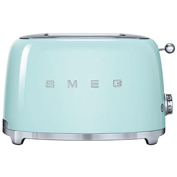 Smeg 2-slice Toaster found on Polyvore featuring home, kitchen & dining, small appliances, pastel green, two slice toaster, smeg, bread toaster and 2 slice toaster