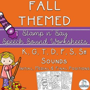 These Stamp n' Say Speech No Prep sound worksheets are perfect for Fall/Autumn themed Speech and Language Therapy sessions!