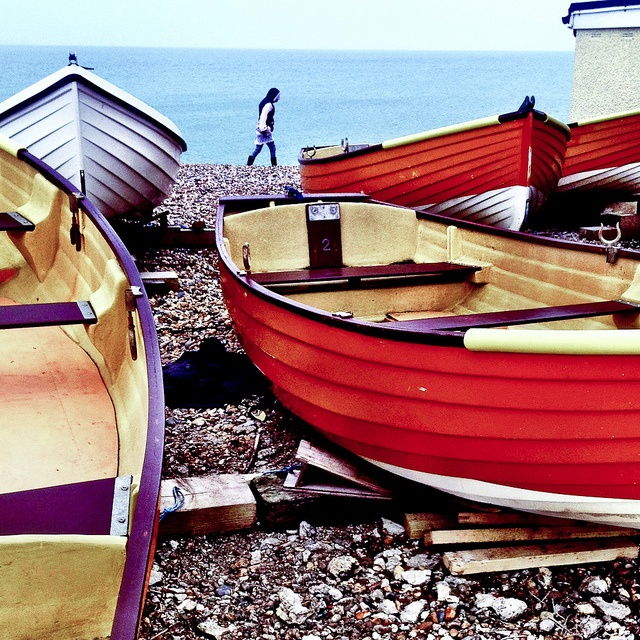 Rowing boats on Hove Seafront, #Brighton, UK.