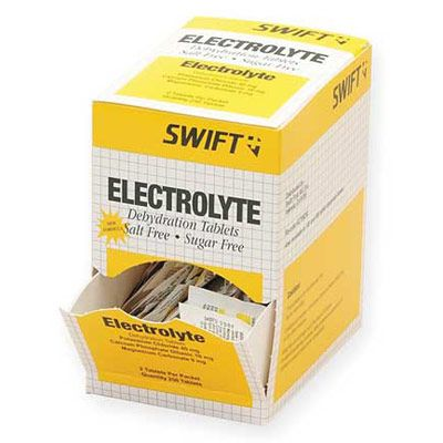 Electrolyte tablets help minimize fatigue and prevent muscle cramps and heat prostration due to excessive perspiration. Active ingredients: potassium chloride 40 mg, calcium phosphate 10 mg, and magnesium carbonate 9 mg.