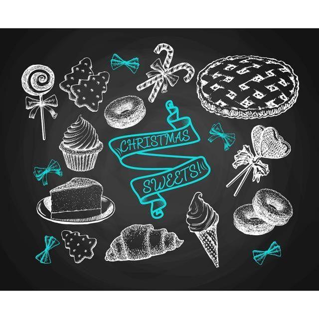 مجموعة حلويات رسم على السبورة الخلفية صور المتجهات مع المواد Png Doodle Background Candy Cane Background Chalkboard Background Free