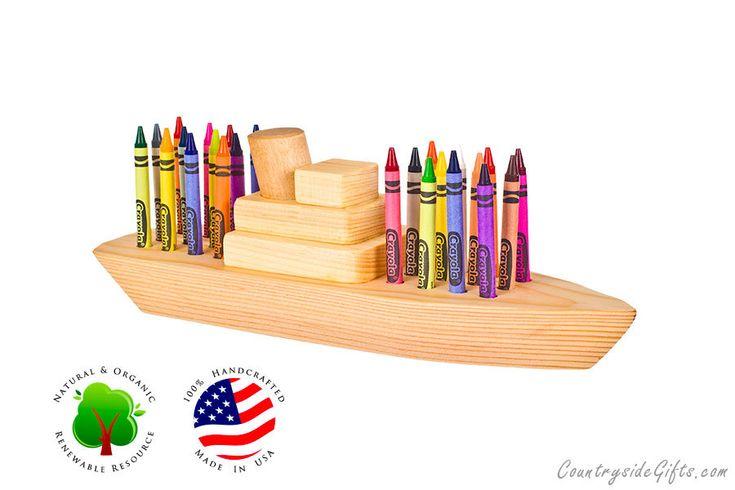 Crayon Holder - Natural & Organic Wooden Boat 24ct Crayon Holder. $24.95, via Etsy.