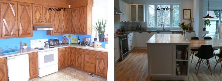 La cuisine d'Amélie avant et après notre passage.