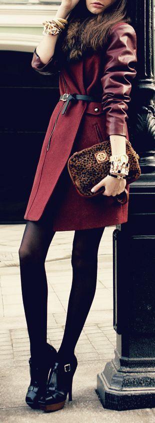 Burgundy coat.