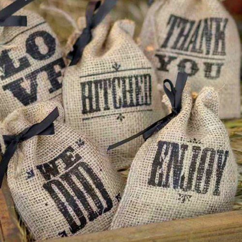The bag says it all. Hand out these wedding sayings burlap favor bags for your rustic, vintage, or outdoor wedding.