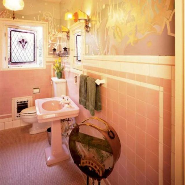 43 best images about pink bathroom redo on pinterest for Pink retro bathroom ideas