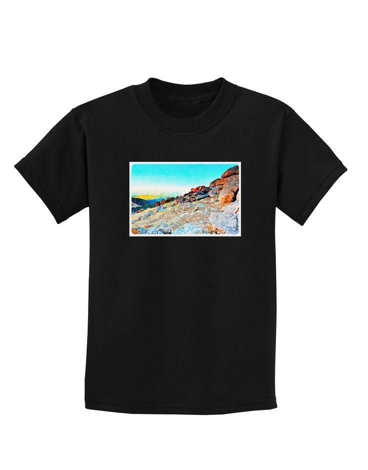 CO Rockies View Watercolor Childrens Dark T-Shirt