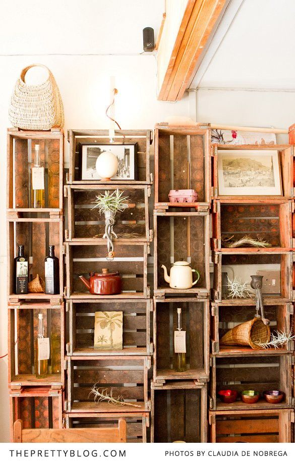 Amazing idea for a bookshelf! Wooden crates stacked!