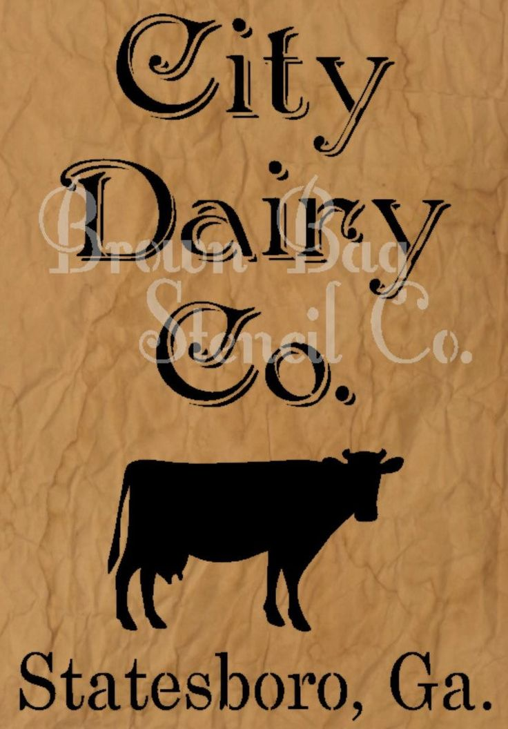 City Dairy Co Stencil 8x12 mylar stencil by BrownBagStencilCo