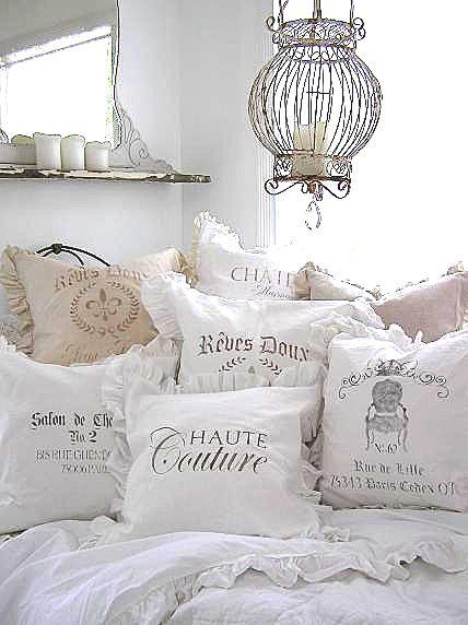 white ruffle pillows