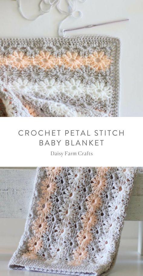 Free Pattern - Crochet Petal Stitch Baby Blanket #crochet   crochet ...