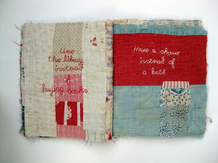 Beautiful cloth book made from old quilts by textile artist Mandy Pattullo