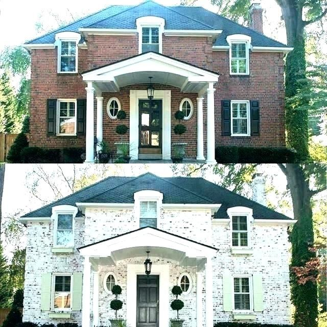 Whitewashing Exterior Brick Whitewashing Brick With Gray Paint Exterior Whitewash House Cost In 2020 Whitewash Brick House Brick Exterior House Home Exterior Makeover