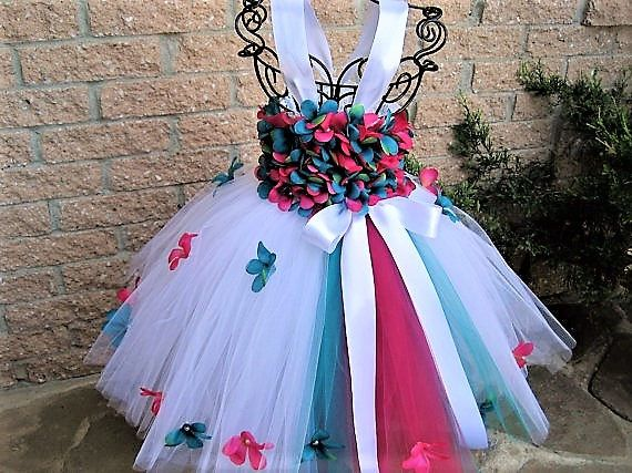 TEAL PINK FLOWERS   Tutu Dress  Flower Girl Gown  First