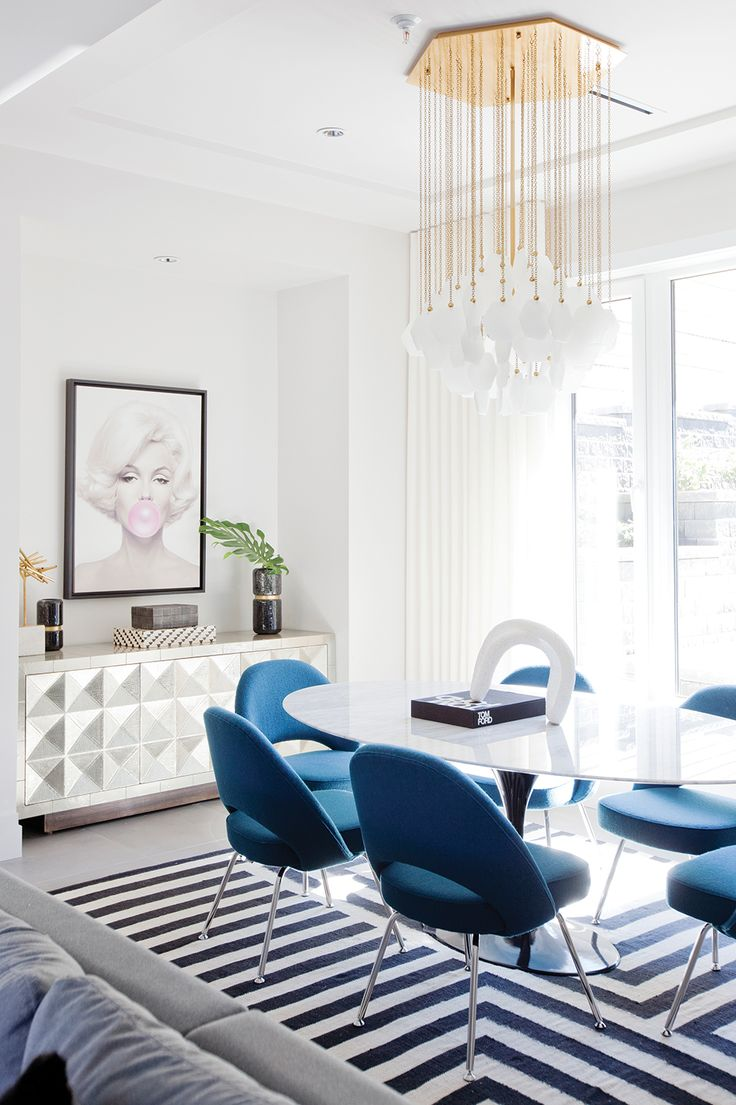 "The Look: Pop Art Perfection Play with shape and pattern to master the modern mix. The playful painting of Marilyn Monroe by artist Michael Moebius was actually the first piece the homeowners bought for this Stephanie Brown–designed dining room. ""They picked it up before construction even started!"" laughs Brown. ""It really had to be the focal …"