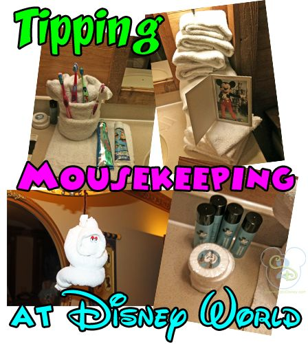 Mousekeeping is Disney's version of Housekeeping. The rule of thumb is to tip $1 per person in your room plus an extra $1. So a family of four would tip $5 per day. Sometimes Mousekeeping leaves you magical touches such as towel animals, turn down service, extra towels or extra shampoos. We love returning to our room each day to see what they have done.