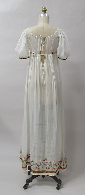 Dress Date: ca. 1805 Culture: French Medium: cotton, wool, metal Dimensions: Length at CB: 52 in.