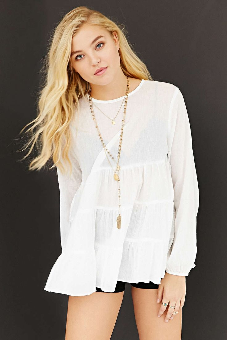 Kimchi Blue Gauze Babydoll Button-Back Shirt - Urban Outfitters