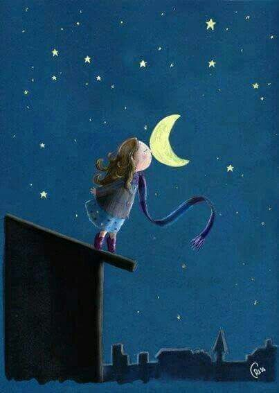Good night moon girl on rooftop kissing moon goodnight cartoon drawing
