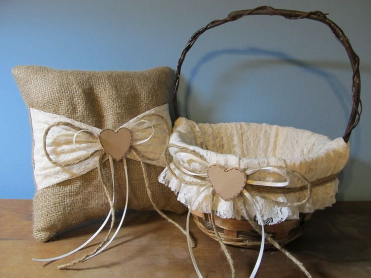 Rustic Burlap Flower Girl Baskets : Rustic flower girl basket and ring bearer pillow burlap