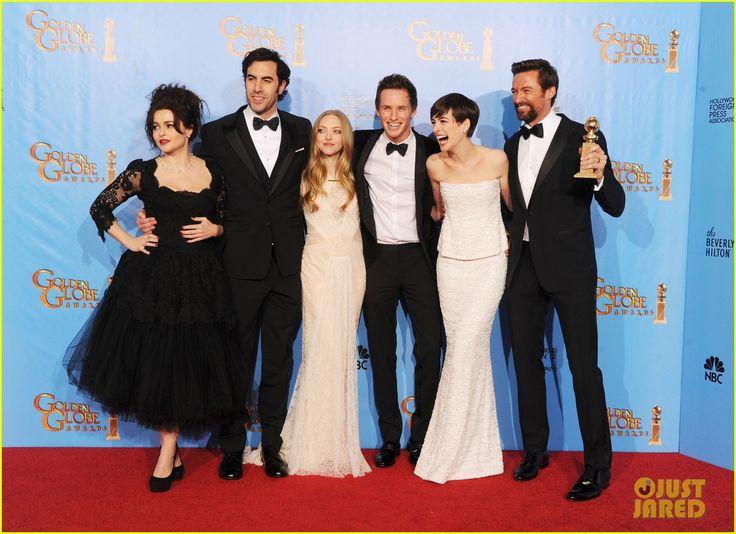 Amanda Seyfried, Anne Hathaway, Deborra Lee Furness, Eddie Redmayne, Helena Bonham Carter, Hugh Jackman, Sacha Baron Cohen #GoldenGlobes