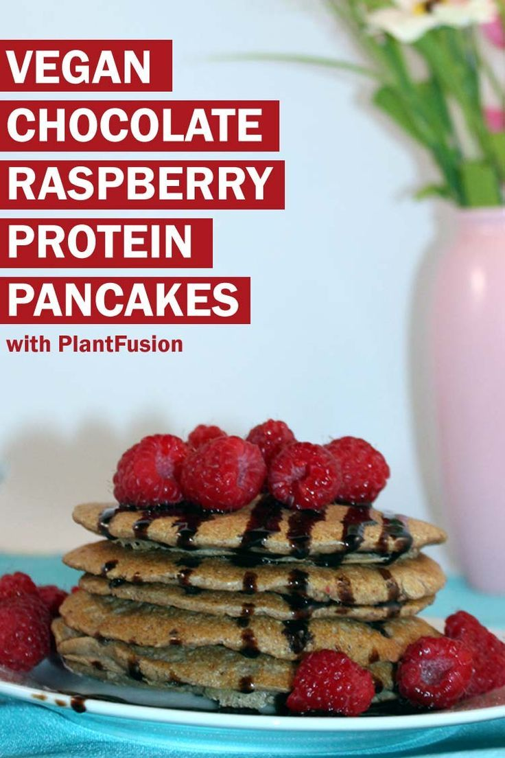 Looking for a fluffy vegan protein pancake with a twist? These chocolate raspberry pancakes are easy to make, and have 32g protein per serving.