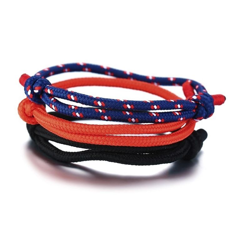 Set of 3 adjustable simple climbing rope bracelet with knots that slides nautica…   – Products