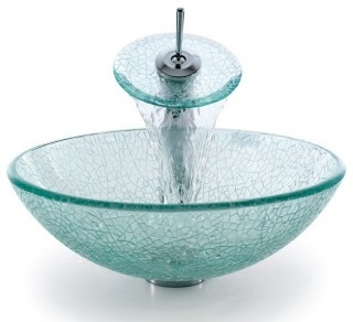 Kraus C-GV-500-12mm-10 Broken Glass Vessel Sink And Waterfall Faucet.