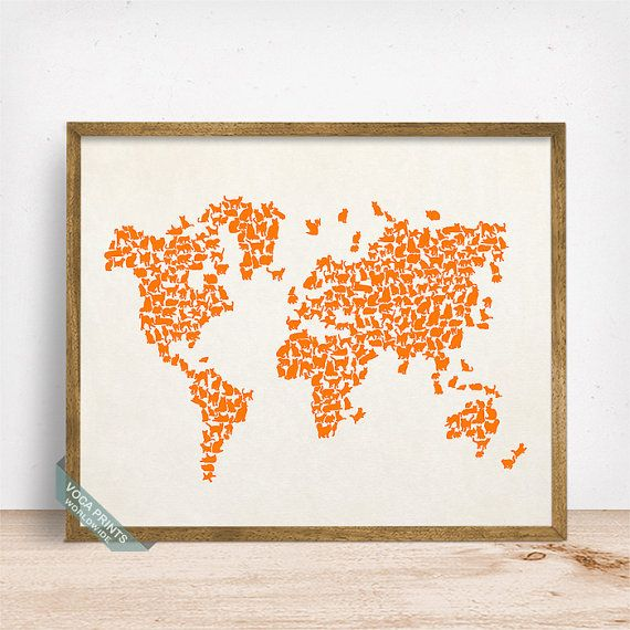 11 best world map prints images on pinterest world maps poster cats world map print cat world map world map poster by vocaprints gumiabroncs Image collections
