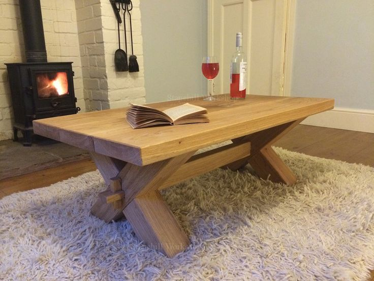 Fabulous Rustic Oak Coffee Tables Corfe Solid Oak Coffee Table With Cross  Legs Thick Rustic And | Home Improvement Projects | Pinterest | Oak Coffee  Table, ...