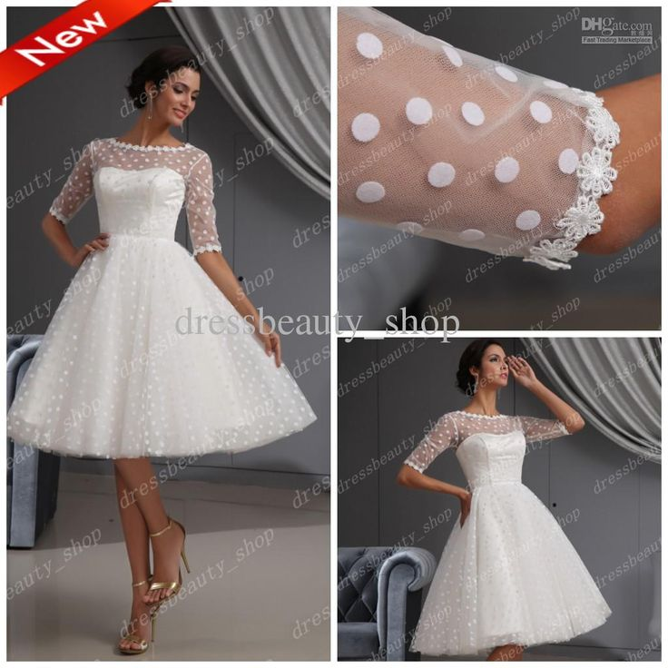 Wholesale 2013 Elegant Dotted Tulle Lace Hem Short Knee Length Wedding Dresses Ball Gown Beach Long Sleeves, $136.64-159.99/Piece | DHgate