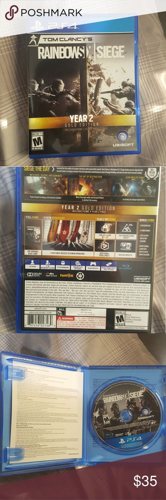 Rainbow Six Seige, Year 2 Gold Edition Almost new, played it once or twice only. I dont like FPS, so selling it. Other