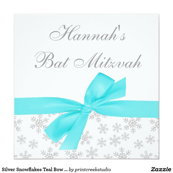 Silver Snowflakes Teal Bow Bat Mitzvah Card