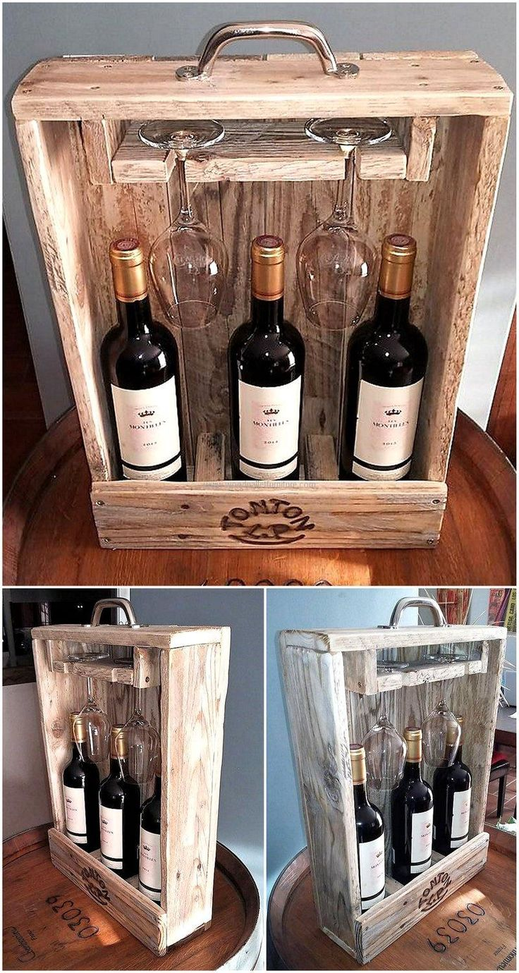 pallets wood bottle and glass holder