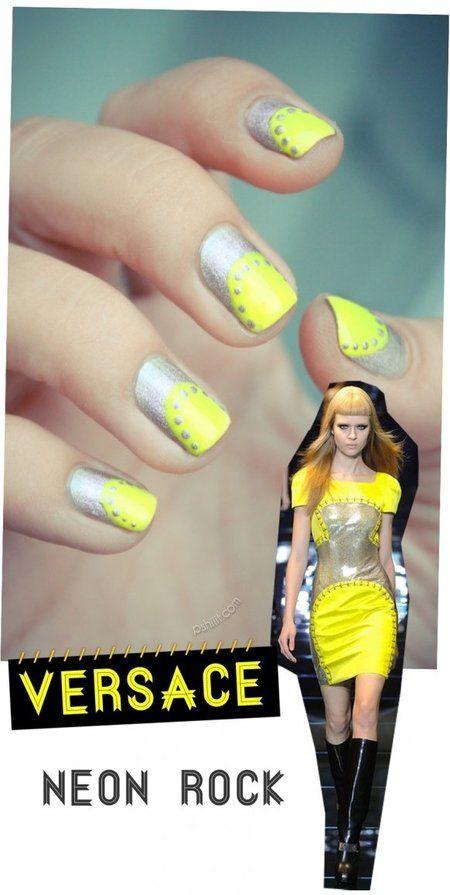 Versache Neon Yellow Nails #fashion #nails #nailart #nailblogger - bellashoot.com