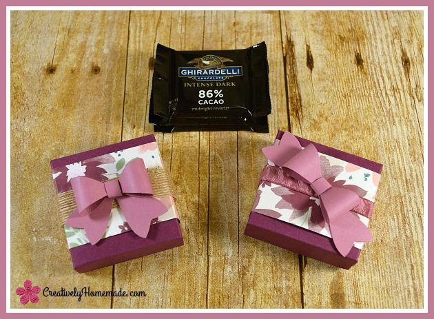 paper boxes with paper bows ... These pretty DIY candy treat boxes are so simple to make and hold 3 Ghirardelli chocolate squares. directions at creativelyhomemade.com