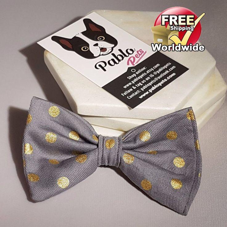 Grey/ Gray & Gold Polka Dot || Cat or Dog BOW TIE By Pablo Pets - French Bulldog #PABLOPETS
