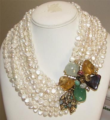 Iradj-Moini-Large-10-Strand-Pearl-Natural-Gemstone-Brooch-Necklace-Combo