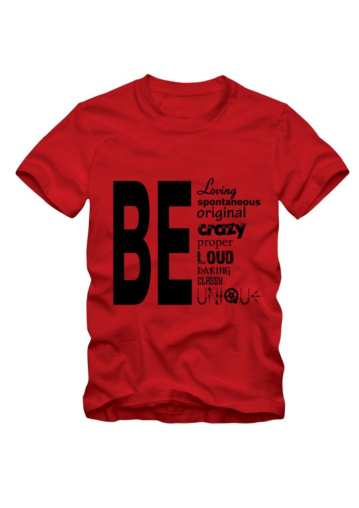 Be design in Red Colour Tee. #styleaddress #cottontees #graphictees #casualwear