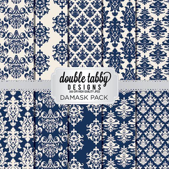 damask digital paper pack instant download by