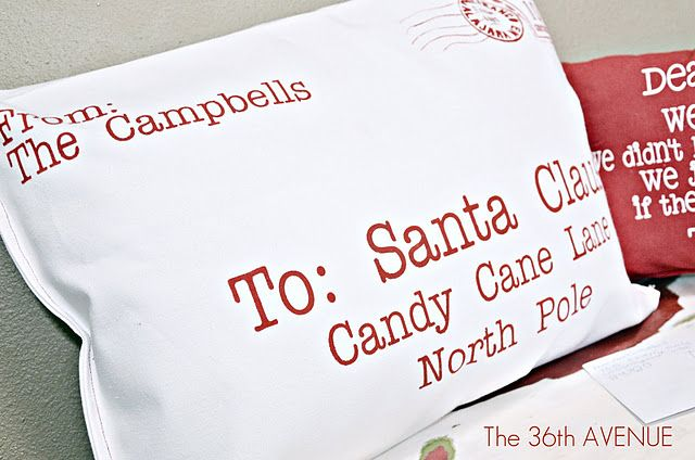 """Tutorial for """"Letter to Santa"""" pillows - These are made from napkins but you could easily make them from regular fabric."""