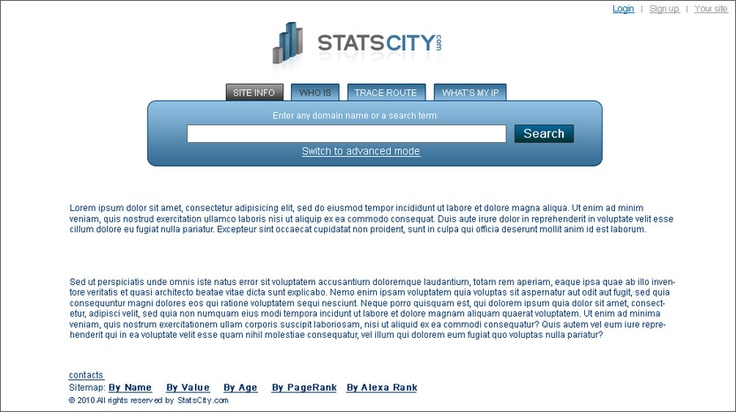 Web Site Analyzer will help you to analyse your web site by domain, PageRank, and other values.