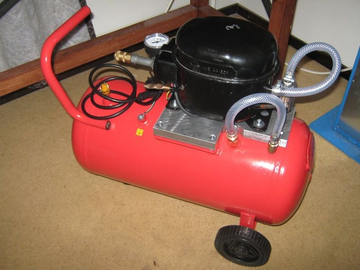 Silent Air Compressor by  -- Homemade silent air compressor constructed by mounting a refrigerator compressor to a commercial air tank. http://www.homemadetools.net/homemade-silent-air-compressor-8