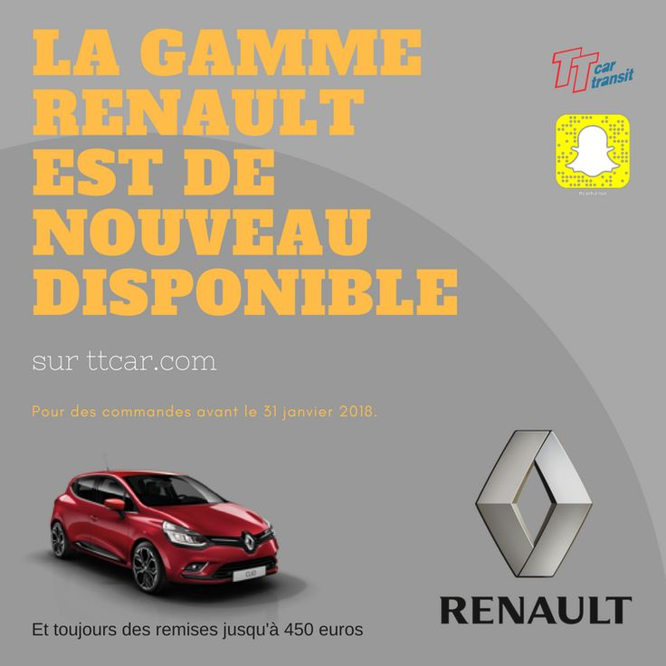 La gamme Renault de nouveau disponible. #ttcar #ttcartransit #renault #Eurodrive #promo #expat #expatlife http://bit.ly/2zlv2f7