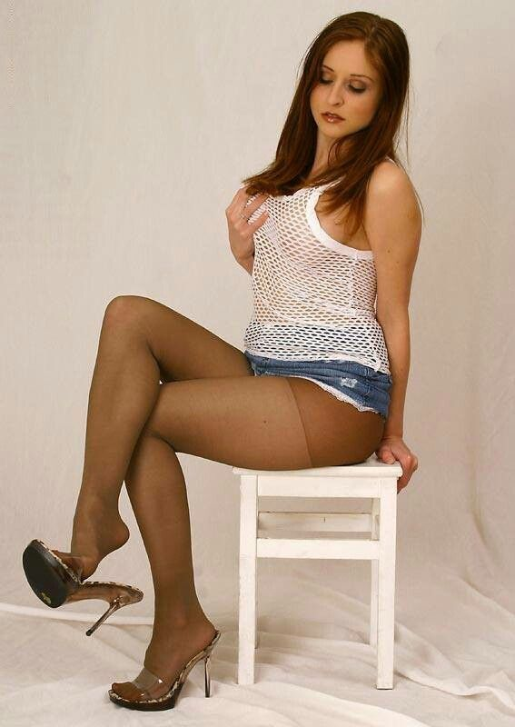Pin By Clint On Stools 2 Pantyhose Outfits Denim Mini