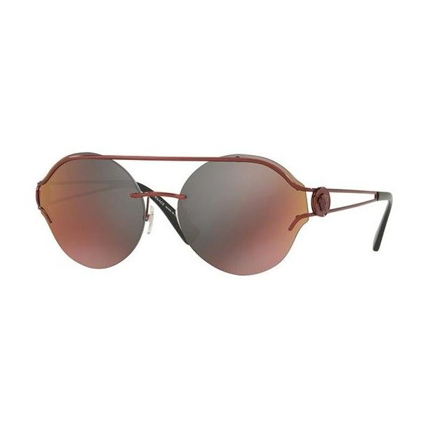 Versace VE2184 1416W6 Sunglasses ($215) ❤ liked on Polyvore featuring accessories, eyewear, sunglasses, burgundy, versace aviators, aviator glasses, versace, mirrored glasses and versace glasses