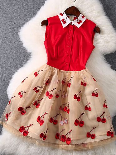 Sweet embroidery cherry dress                                                                                                                                                                                 More