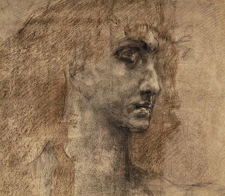 Mikhail Vrubel, Study for the head of an Angel, 1887. Charcoal and red crayon on paper