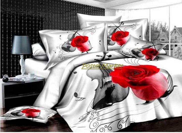 Белый набор белья сатин 3D Arya Violin с розой. Купить постельное белое белье Violin - Постель Маркет